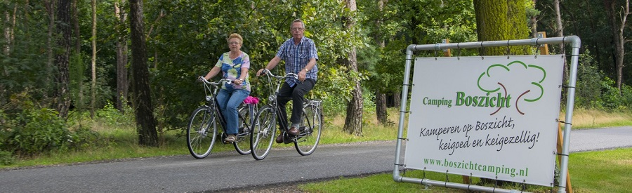 Ouderen fietsen in bos